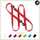 Pets&Partner® Hundeleine aus Nylon | Doppelleine | Führleine in verschiedenen Farben für mittlere / mittelgroße und große Hunde passend zu Halsband und Geschirr, Rot