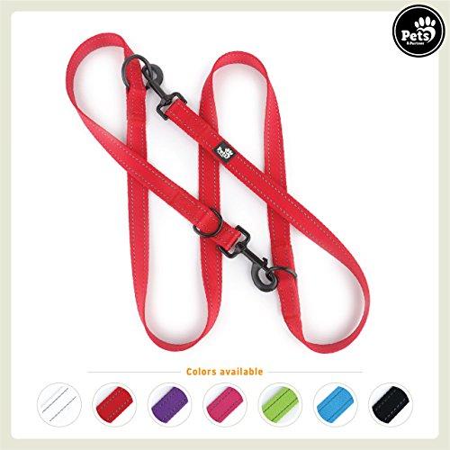 Pets&Partner® Hundeleine aus Nylon | Doppelleine | Führleine in verschiedenen Farben für mittlere / mittelgroße und große Hunde passend zu Halsband und Geschirr, Rot (Halsbänder Und Geschirr)