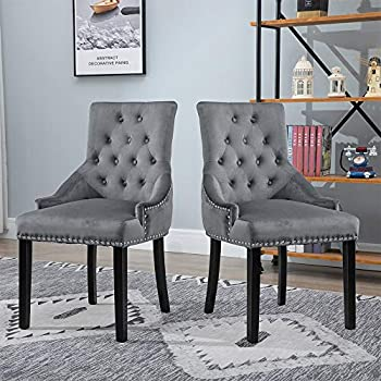 BOJU Set of 2 Occasional Tufted Dining Chairs with Arms Studded Knocker Ring Accent Grey Fabric Upholstered Kitchen Chairs with Armrest for Restaurant Bedroom Living Room Soft Side Chairs