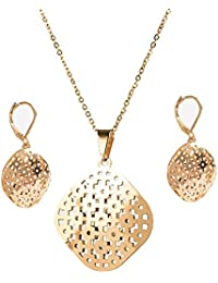 IGP Gold Plated Jaali Work Design Stainless Steel Fashion Pendant Set With Clip On Earrings For Women And Girls