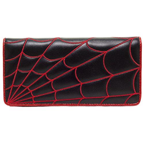 Sourpuss Damen Geldbörse Spinnennetz-Muster - Spiderweb Portemonnaie Schwarz / Rot / Pink (Rot)