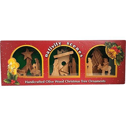 Nativity Scenes Handarbeit Olivenholz Christmas Ornaments, Set of 3