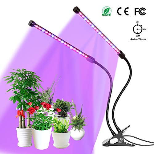 Pflanzenlampe YUNLIGHTS 18W 36 LED Pflanzenlichter 3 Automatisch Timer(3H/6H/12H), 5 Stufen Helligkeit, 360°Einstellbar für Zimmerpflanzen, Sukkulenten, Hydrokultur, Gemüse, Gewächshaus - Gezüchtet 12