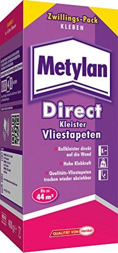 Metylan Direct Kleister für alle Vliestapeten/Professioneller, starker Kleister für bis zu 44m²/Rollkleister für direkten Wandauftrag/1 x 400g