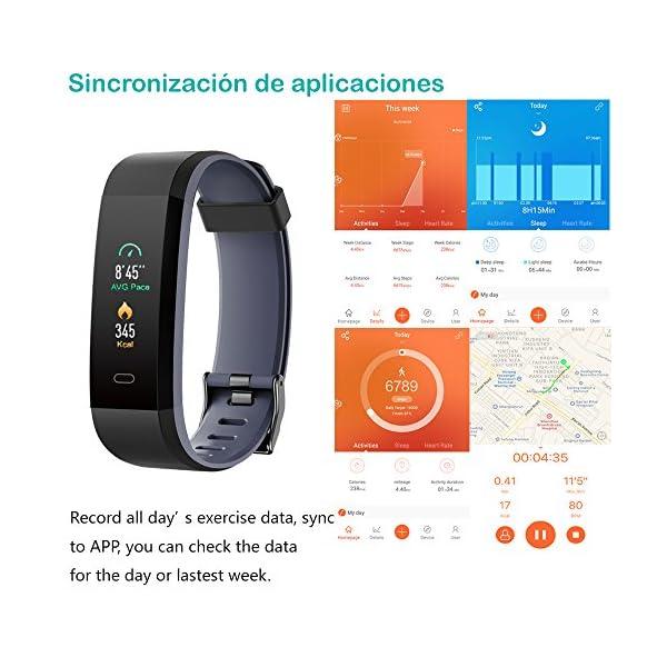 Willful Pulsera Actividad, Pulsera Actividad Inteligente Pantalla Color Reloj con Pulsómetro Impermeable IP68 Podómetro Pulsera Deportiva Reloj para Xiaomi Samsung Huawei Android iPhone iOS Teléfono 8