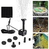 Liqoo Solar Pumpe Springbrunnen Teichpumpe für Garten, Wasserpumpe für Miniteich mit 4 Verschiedenen Düsen, 180 L/h ; Höhe 0,6 m ; 1,1 W