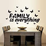 PeiTrade Butterfly Family Is Everything Living Room Bedroom Wall Sticker Art Decal Home Room Decor Office Wall Mural Wallpaper Art Sticker Decal Paper Mural for Home Bedroom