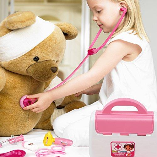 Samoleus Doctora Juego Pretender de Enfermera Médico Kit Cuadro Juguete Set 15 Piezas para Niños Infantiles 3 Años + (Rojo)