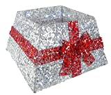 Christmas Concepts Gonna base albero di Natale con nastro e luci a LED - Vari colori - Decorazioni albero di Natale (argento/rosso)