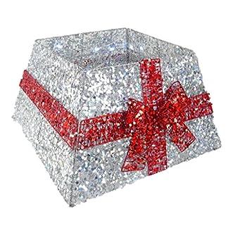 Christmas Concepts® Falda de Base de árbol de Navidad con Cinta y Luces LED – Varios Colores – Decoraciones de árboles de Navidad (Plata / Rojo)