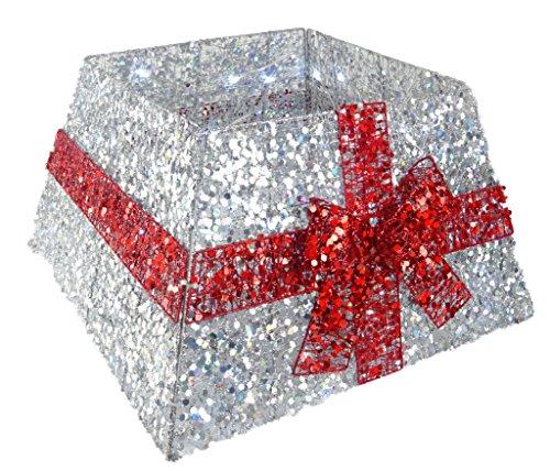 Christmas Concepts® Gonna base albero di Natale con nastro e luci a LED - Vari colori - Decorazioni albero di Natale (argento/rosso)