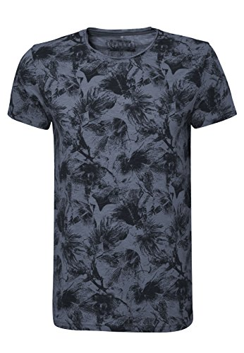 SUBLEVEL Herren T-Shirt mit Flower Allover Print | Bequemes Sommer Shirt mit Blumen Aufdruck middle-blue
