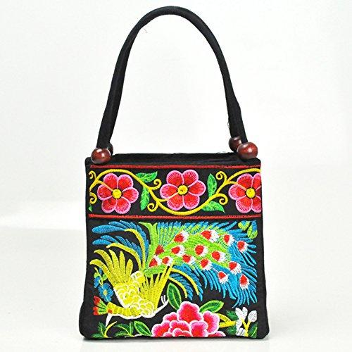 Due tasche borse ricamo–Memorecool vari modelli di legno perline Decor ragazze estate Materiale di alta qualità borsa purple2 phenix