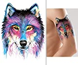 WOLF Tattoo Tier Tattoo Wasserfarben Tattoo Aufkleber KM174
