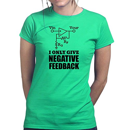 Womens Negative Feedback Electricity Funny Ladies T Shirt (Tee, Top) Irish Green