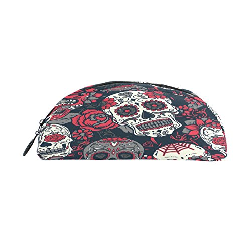 d Sugar Skull Pen Pouch Federmappe Box Reise Schule Halter Make-up Kosmetiktasche ()