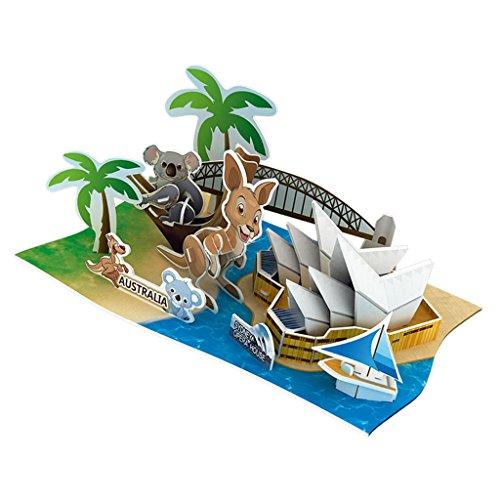 Baoblaze DIY 3D Papier Modell Papiermodell Architektur Basteln Modell Spielzeug Set - Australien