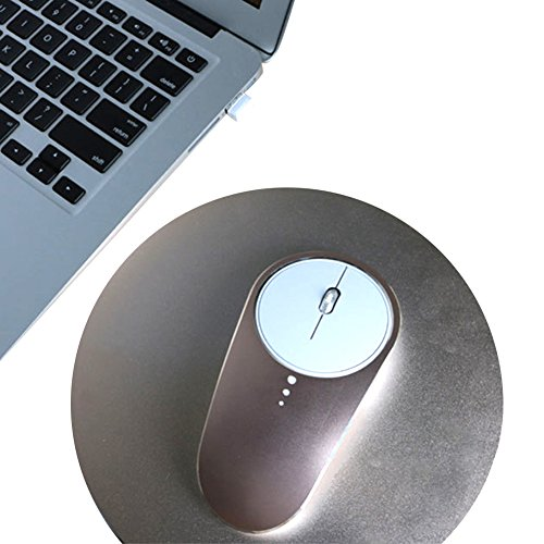 kuuboo Kabellose Maus, Slim leise Click 4Tasten 2.4G optische USB schnurlose Gaming & OFFICE Laptop PC Ergonomische Maus Mäuse mit Nano Empfänger, 1600dpi 3Anpassung Ebenen für Windows Mac Macbook Linux–Super energiesparend (USB-Empfänger + 1Meter Ladekabel Line) gold gold 13*6.8*3cm