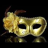 Gleader Mascara Veneciana con Pluma para Fiesta de Disfraces Carnaval Baile (Oro)