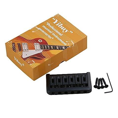 yibuy 76x 44x 14mm 6Saiten feststehende E-Gitarre Brücke & Schlüssel & Schrauben schwarz
