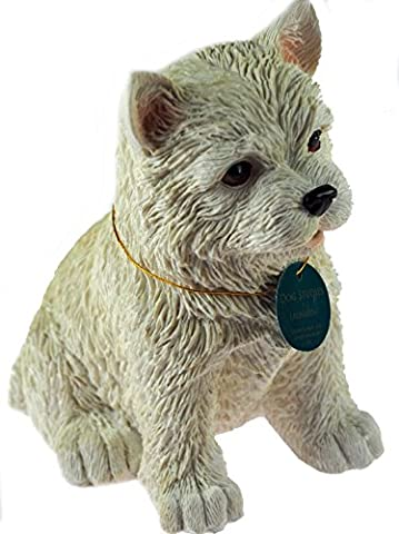 Sitting 17cm White Westie / West Highland Terrier Cute Puppy Ornament / Figurine