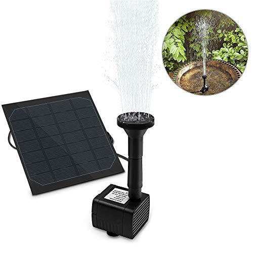 Solar Springbrunnen, omitium Solar Teichpumpe Garten Wasserpumpe Solarpumpe mit 1,2W Monokristalline Solar Panel Brunnen für Gartenteich Vogel-Bad, Fisch-Behälter, Kleiner Teich, Garten Springbrunnen