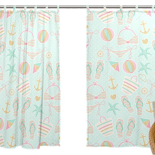 jstel 2 pezzi Voile tenda di finestra, Cartoon estate vacanza in spiaggia, Tulle Sheer Curtain Drape Valance 139,7 x 198,1 cm Set di due pannelli
