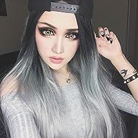 ZI LING SHOP Parrucche tipo U capelli lunghi capelli diritti Capelli neri  grigi neri Capelli lunghi Harajuku Set... di Wig 6318781f41f5