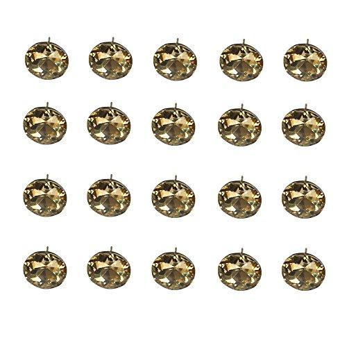 Button Kopfteil (ideaker, Edelsteine Diamond Stone Kristall Sofa Nail Button Sofa Kopfteil Decor Track 20Stück, braun)
