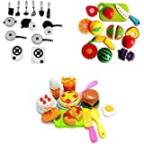 PLAY DESIGN White Chef & Fruits Cutting And Food Items Learning And Pretty Cutting Cake Role Play Toy Set For Kids. (Combo)