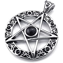 KONOV Joyería Collar con Colgante de hombre, Cadena 45cm (Optional 45-65cm), Retro Vintage Celta Celtic Pentagram, Pentagrama, Estrella, Acero inoxidable, Color negro plata (con bolsa de regalo)