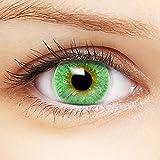 Farbige grüne Kontaktlinsen 'Intense Green' +Behälter für DUNKLE und HELLE