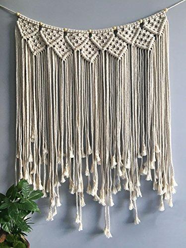 xiulihui 100% Handmade Woven Macrame Wandteppichen Boho Art Craft Home Décor Beige Zimmer Szenerie Party Hochzeit Hintergrund stil 1