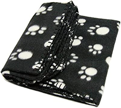 ULTNICE Manta Polar para Gato Perro Manta Suave para Sofá 100 x 70cm (Blanco Negro)