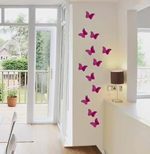 3 D motif papillon avec pastilles autocollantes framboise couleurs lot de 12 papillons décoratifs m1084 schmetterlingsdeko