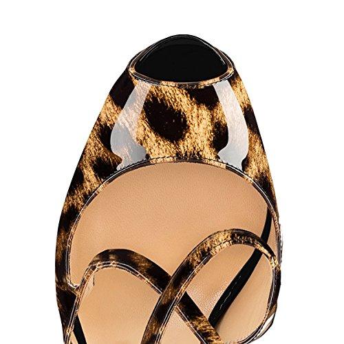 uBeauty Damen Pumps Stilettos High Heels Peep Toe Glitzer Übergröße Sandalen mit Plateau Corss Ankle Strap Schuhe Leoparden-Spots