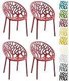 CLP 4er-Set Design-Gartenstuhl Hope aus Kunststoff I 4X Wetterbeständiger Stapelstuhl mit Einer maximalen Belastbarkeit von 150 kg I erhältlich Rot