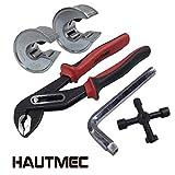 HAUTMEC 5pc Lot d'accessoires de plomberie: tranches de Coupe-tube 15 et 22 mm, pince multiprise, radiateur Clé hexagonale Clé et 4 Way plomberie Clé TS0002