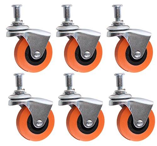 Vanitek 6Pack Schwere 6,3cm Lenkrolle Rad für Creeper Service Warenkorb Hocker Post Mount - 6k Warenkorb