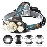 LED Lampada da Testa,CAMTOA 5LED 8000 Lumens Super Luminosa Headlamp XML-T6 Zoomable Impermeabile 4 Modalità Lampada Frontale Luce - Perfetta per Campeggio,Arrampicata,Correre,Pesca,Ciclismo,Outdoor