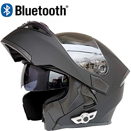 DYCLE Modularer Bluetooth-Helm, DOT-Zulassung Motorrad Integralhelm Mit Antibeschlag-Doppel-Sonnenblende Erwachsene, Mann, Frau, Fahrer,Black-L(59-60cm)
