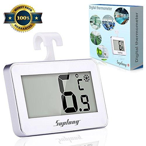 Kühlschrank-Thermometer, SUPLONG Digitale Wasserdichte Kühlschrank Mit Gefrierfach Thermometer Mit Gut Lesbarem LCD-Anzeige Lesen Perfekt für Lnnen / Außen / Home / Restaurants / Bars / Cafés (Weiß))