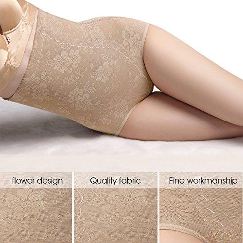 Damen Miederslip Miederpants Unterhose Panty Slips Hohe Taille Figurformendes Kompressions Hose mit Bauchweg-Effekt Spitzenhöschen Butt Lifter Shaper Shapewear von Colleer Hautfarbe