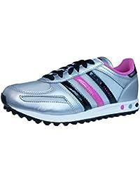 huge discount 0b0a1 dd3c9 adidas LA Trainer K Chaussures Mode Sneakers Enfant Fille Argent Rose Noir