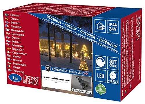 Konstsmide 4607-007 LED Hightech System / Dimmer mit Lichtsensor, 6h und 9h Timer / für Außen (IP44) /  schwarzes Kabel