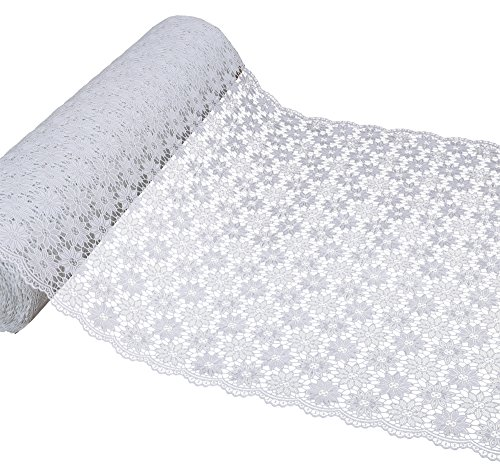 Spitzenläufer Tischläufer Häkel Spitze Optik Blühten weiß, Meterware, Breite 50 cm Länge...