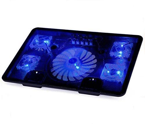 Laptop-Kühler, Tia-VeFire 14-17 Zoll Laptop Kühler Notebook Cooler St?nder Kühlpad Kühlmatte Mit5 Quiet Fans blaue LED-Lichter und 2 USB 2.0-Anschlüsse (Eisen 15 Licht)