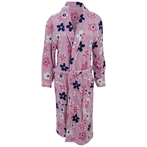 Robe de chambre douce en polaire à motif floral - Femme (M/L (buste: 74-81cm)) (Rose/Fleur)