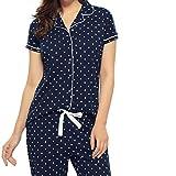 ZEYO Women's Cotton Polka Dot Print Night Suit (Navy Blue, Large)