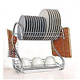 Scolapiatti 2-Tier Acciaio inossidabile Rack di scarico di piatti